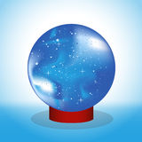 Crystal ball. Vector drawing. Magic Ball fortune-telling on the stand Stock Images