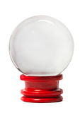 Crystal ball. On red podium Stock Photo