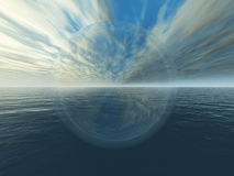 Crystal Ball. This image shows a 3d render with crystal ball,sky and ocean royalty free illustration