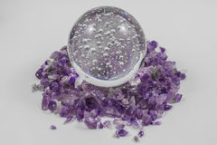 Crystal Ball with amethyst points Royalty Free Stock Photo