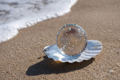 Crystal ball as the pearl Royalty Free Stock Photo