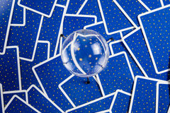 Crystal ball on a background of tarot cards. Stock Photo