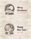 Crystal ball Christmas New Year handdrawn style template. Crystal ball house elk set Christmas New Year handdrawn engraving style template postcard poster banner Royalty Free Illustration