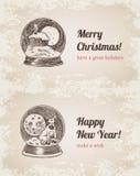 Crystal ball Christmas New Year handdrawn style template. Crystal ball house elk set Christmas New Year handdrawn engraving style template postcard poster banner Stock Photos
