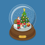 Crystal ball Christmas Santa gift snow fir tree vector isometric. Crystal ball Merry Christmas flat 3d isometry isometric web vector illustration. Snow decorated Stock Photo
