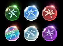 Crystal ball Christmas set flare. Snowflake in ice crystal ball background for Christmas celebration theme Royalty Free Stock Images
