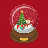Crystal ball Christmas snow fir tree snowman vector isometric. Crystal ball Merry Christmas flat 3d isometry isometric web vector illustration. Snow decorated Stock Photo