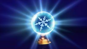 Crystal ball Christmas Snowflakes blue Royalty Free Stock Photo