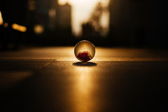 Crystal Ball on cityscape square Horizon sunrise Royalty Free Stock Photos
