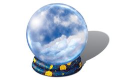 Crystal ball with clouds Royalty Free Stock Images