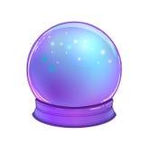 Crystal Ball con con la luna del arco iris y las estrellas coloridas Imagen de archivo