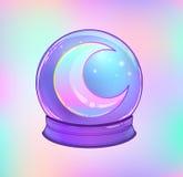 Crystal Ball con con la luna del arco iris y las estrellas coloridas Fotografía de archivo