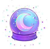 Crystal Ball con con la luna del arco iris y las estrellas coloridas Imagen de archivo libre de regalías
