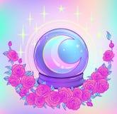 Crystal Ball con con la luna del arco iris y las estrellas coloridas Imágenes de archivo libres de regalías