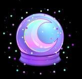 Crystal Ball con con la luna del arco iris y las estrellas coloridas Foto de archivo libre de regalías