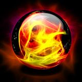 Crystal Ball. With Fire Inside Stock Photos