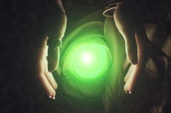 Crystal ball. Crystal ball and fortune teller hands. Divination. Seance Stock Photo