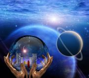 Crystal ball. With temple and monk inside. Clouds and planets. Human elements were created with 3D software and are not from any actual human likenesses Royalty Free Stock Photo