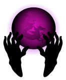 Crystal ball with dragon. Being held by black hands Stock Images