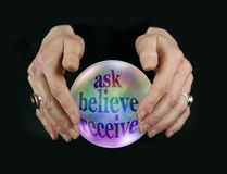 Crystal Ball Encouraging Ask Believe recebe fotos de stock royalty free