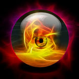 Crystal Ball. With eye inside fire Royalty Free Stock Photos