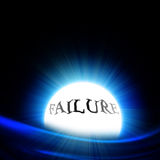 Crystal ball with 'failure' stock illustration