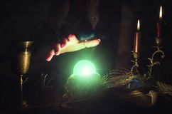 Crystal ball. Crystal ball and fortune teller hands. Divination. Seance Royalty Free Stock Photo
