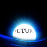 Crystal ball with 'future'. On a black background Stock Photo