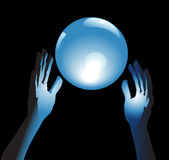 Crystal Ball Future in Hands. Hands reach for a shiny, crystal ball in blue glow, a backround for fortune, forecast, answers to questions vector illustration