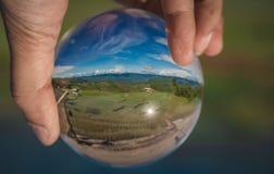 Crystal Ball With Green Field fotografia de stock