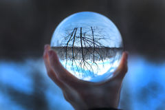 Crystal ball in hand stock image