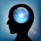 Crystal ball in the human head. Stock . Stock Images