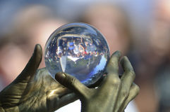 Crystal ball juggling. Royalty Free Stock Photo