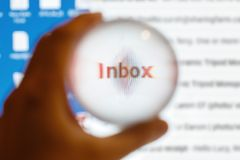 Crystal ball magnify word inbox. Email concept stock photo