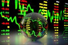 Crystal Ball med aktiemarknaddiagrambakgrund, tolkning 3D Royaltyfria Foton