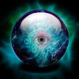 Crystal Ball med allt seende öga royaltyfri illustrationer