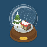 Crystal ball Merry Christmas snow tree flat vector isometric. Crystal ball Merry Christmas flat 3d isometry isometric web vector illustration. Snow fir tree Royalty Free Stock Photography