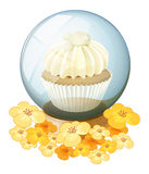 A crystal ball with a mocha-flavored cupcake inside Stock Photography