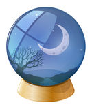 A crystal ball with a moon Royalty Free Stock Photography