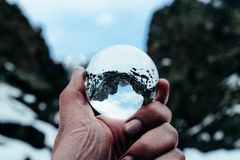Crystal ball mountain shot stock photos