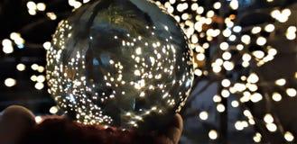 Crystal Ball With Nature Background Algumas fotos tomadas através da bola de vidro que distorce a imagem mas são criativas imagens de stock