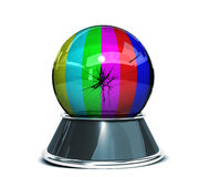 Crystal ball  over white background and broken glass - Template for designers. 3d Render Royalty Free Stock Photography