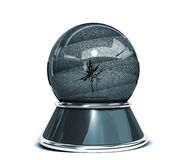 Crystal ball  over white background and broken glass - Template for designers. 3d Render Royalty Free Stock Photos