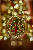Crystal Ball Photo of Christmas tree stock photos