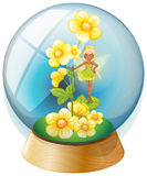 A crystal ball with pink flowers and a fairy Royalty Free Stock Photography