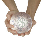 Crystal Ball predicting money in the future Royalty Free Stock Image