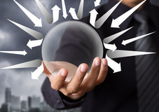 Crystal ball protecting you from arrow Stock Photo