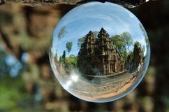 Crystal ball reflections of temple, Cambodia royalty free stock photo