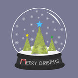 Crystal ball with snowflakes. Merry Christmas card Flat design Blue background. Stock Image