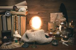 Crystal ball and tarot cards. The seance. Reading of fate and future. Crystal ball and tarot cards on fortune teller desk. Future reading concept. Paranormal royalty free stock images